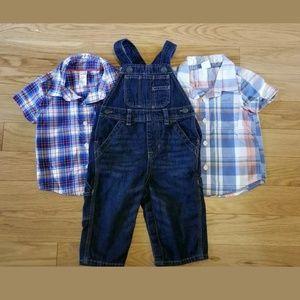 Gap denim overalls 12-18 months shirts toddler